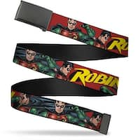 Blank Black Buckle Robin Red Green Poses Red Webbing Web Belt