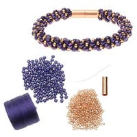 Refill - Deluxe Spiral Beaded Kumihimo Bracelet - Purple and Rose Gold - Exclusive Beadaholique Jewelry Kit