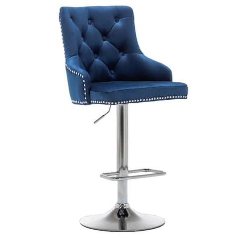 """BTEXPERT Premium upholstered Dining 24"""" - 33"""" Adjustable High Back Stool Bar Chairs, Set of 2 Pack Blue Tufted Tailhead Trim"""