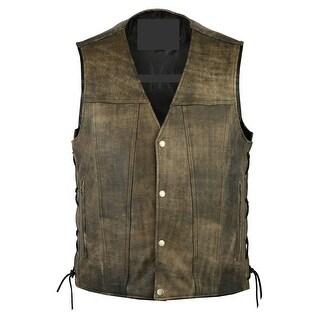 Men's Antique Brown Single Back Panel Concealed Carry Vest