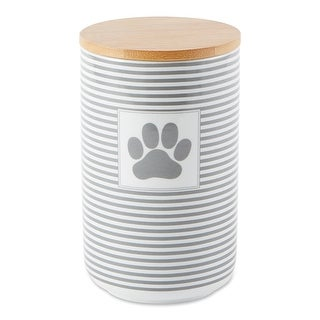 Link to DII Gray Stripe With Paw Patch Ceramic Treat Canister Similar Items in Dog Feeders & Waterers