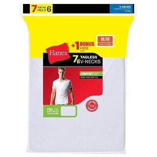 Hanes Men's TAGLESS® V-Neck Undershirt 7-Pack (Includes 1 Free Bonus V-Neck) - Size - XL - Color - White