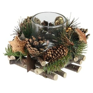 """4"""" Golden Stars and Ornaments Winter Foliage Christmas Votive Candle Holder