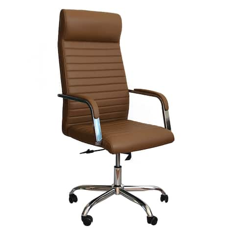 Adjustable Horizontal Ribbed Ergonomic Leatherette Office Chair with Casters, Beige and Chrome