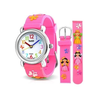 Bling Jewelry Pink Girl Princess Butterfly Kids Watch Stainless Steel Back