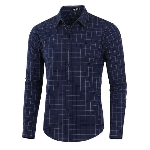 Men Plaid Shirt Cotton Long Sleeve Check Dress Button Down Shirts - Navy Blue Plaids