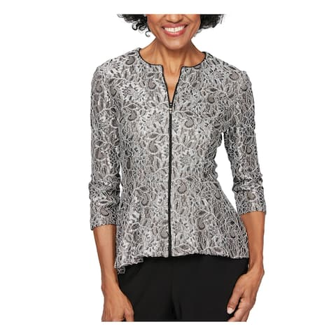 ALEX EVENINGS Womens Black 3/4 Sleeve Wear To Work Top Size PM