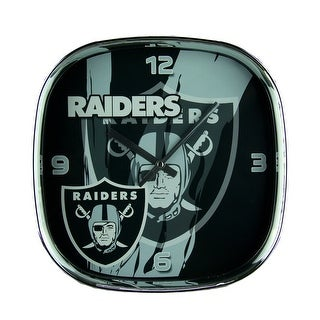 NFL Oakland Raiders Glass Face Wall Clock Chrome Finished Frame - DARK GREEN
