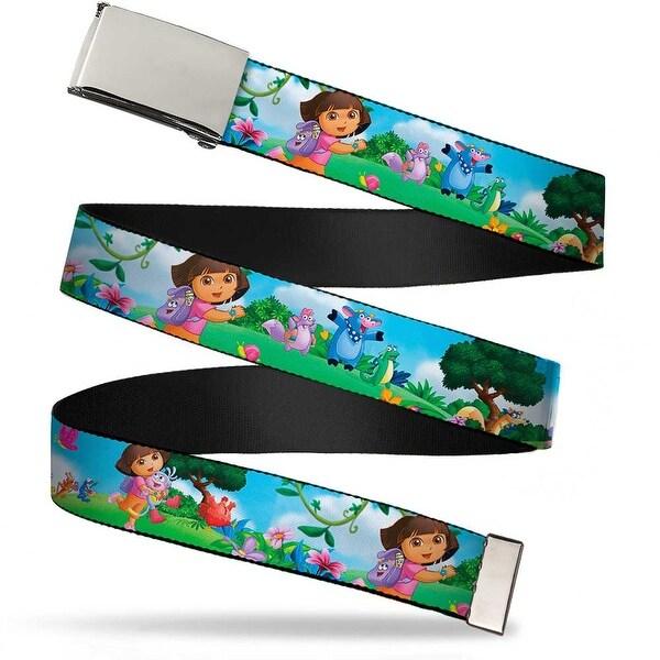 Blank Chrome Buckle Dora Running & Animal Friends Outdoors Webbing Web Belt