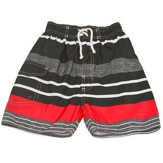Quad Seven Boys Gray Red Striped Drawstring Tie Swim Trunks