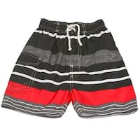 Quad Seven Little Boys Gray Red Striped Drawstring Tie Swim Trunks