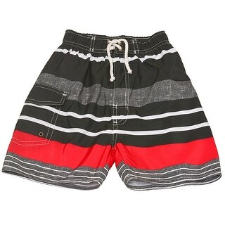 Quad Seven Little Boys Gray Red Striped Drawstring Tie Swim Trunks