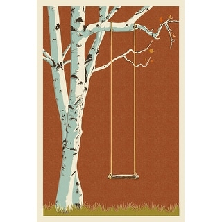 Birch Tree - Letterpress - Lantern Press Artwork (Playing Card Deck - 52 Card Poker Size with Jokers)