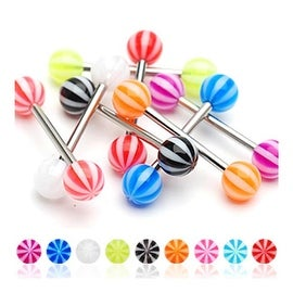 Surgical Steel Barbell with Candy Stripe UV Ball (Sold Individually) - 14 GA