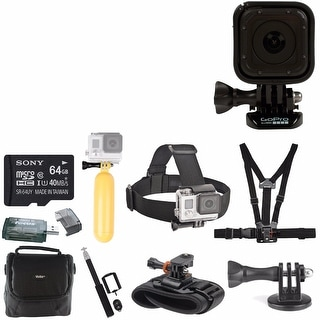 GoPro HERO4 Session with 64BG Card, Camera Bag, Head Strap, Chest Strap, Selfie Stick, Floaty Bobber And Deluxe Accessory Bundle