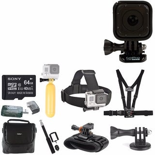 GoPro HERO Session with 64BG Card, Camera Bag, Head Strap, Chest Strap, Selfie Stick, Floaty Bobber And Deluxe Accessory Bundle