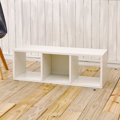 Way Basics Eco Stackable 3 Cubby Storage Bench Shelf and Organizer