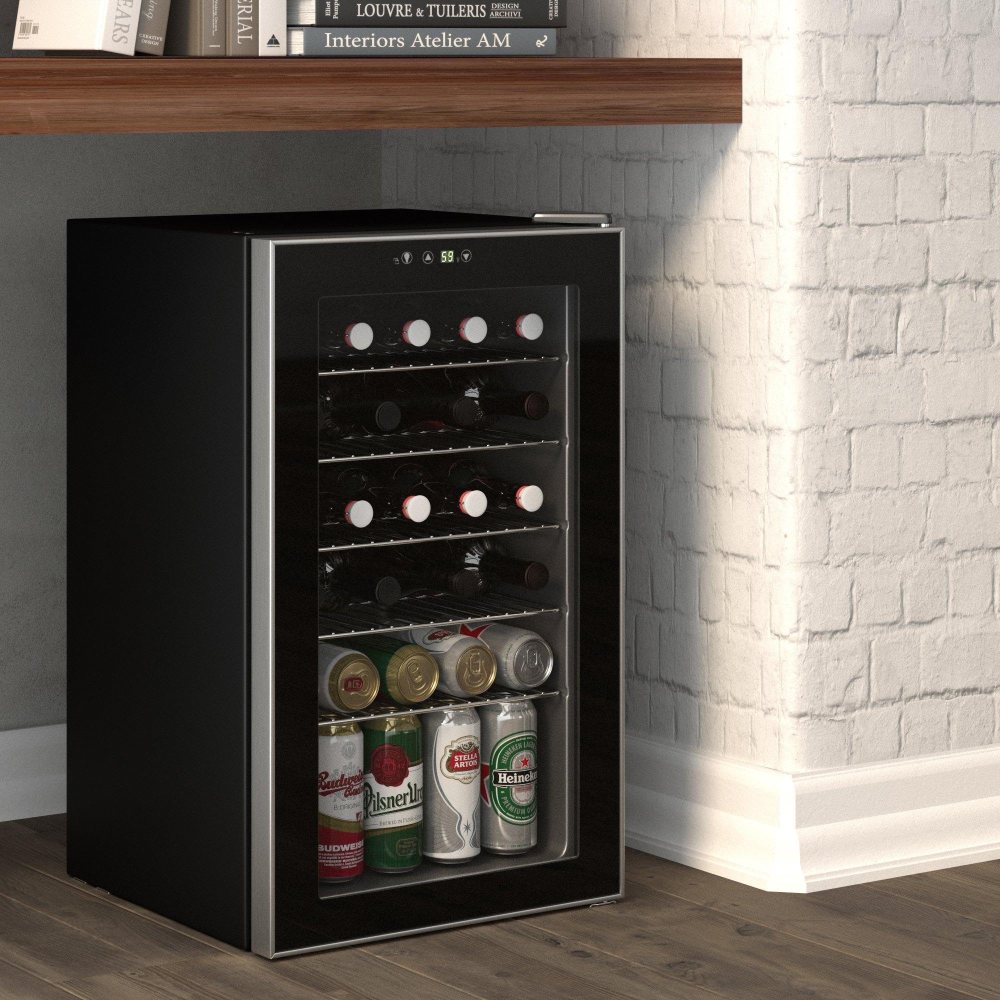 Okada 85 Can Or 24 Bottles Beverage Refrigerator Or Wine Cooler Mini Fridge With Glass Door For Beer Soda Or Wine Overstock 31136097