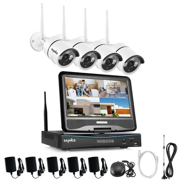 SANNCE 4CH Wireless Indoor Outdoor 720P CCTV Security Cameras ...