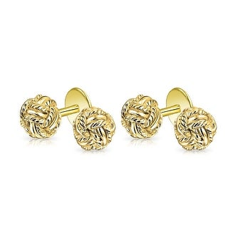 Bling Jewelry Gold Plated 925 Sterling Silver Classic Double Woven Love Shirt Studs Set