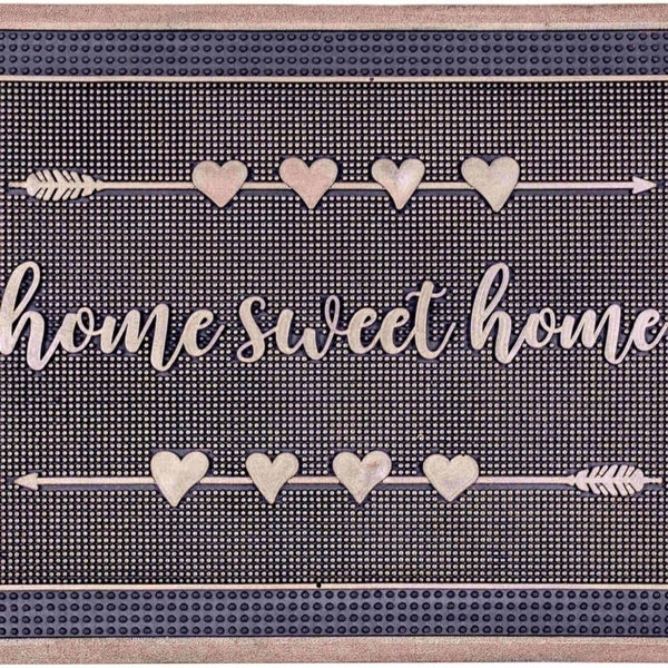 Fab Habitat - Home Sweet Home Gold Painted Doormat 18 x 30 Rubber, Durable