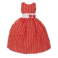 Big Girls Red White Polka Dot Pattern Bow Junior Bridesmaid Dress