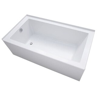 "Mirabelle MIRSKS6032L Sitka 60"" X 32"" Acrylic Soaking Bathtub for Three Wall Alcove Installations with Left Drain"