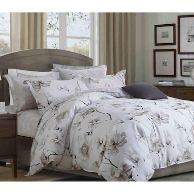 Juan Brown Floral 100% Cotton Comforter Set