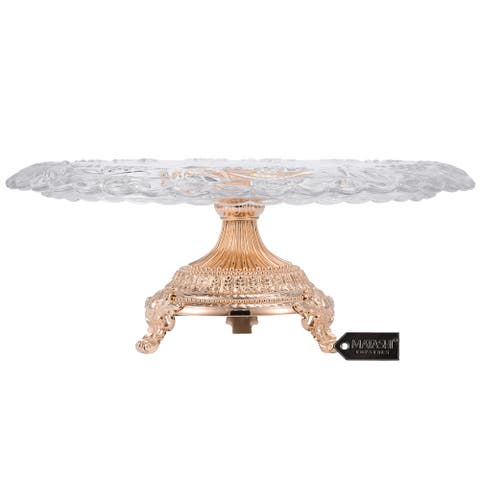 Matashi Glass Etched Cake Plate Centerpiece, Round Serving Platter with Rose Gold Plated Pedestal Base for Weddings, Parties