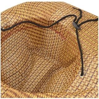 Lady Burgundy Rim Wide Round Brim Sun Visor Straw Hat Cap Beach Brwon