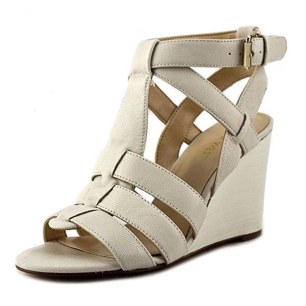 Nine West Farfalla Women  Open Toe Leather Ivory Wedge Sandal