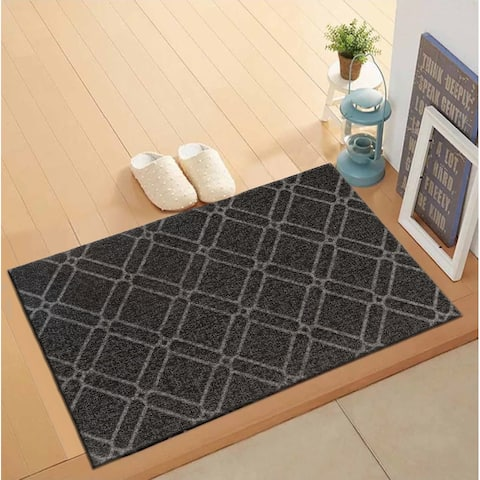 Geometric Trellis Outdoor/Door Mat Gray