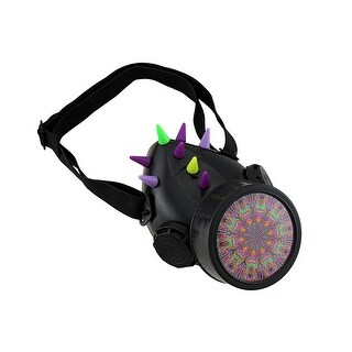 Fluorescent Spiked UV Reactive Respirator w/Psychedelic Pattern Canister