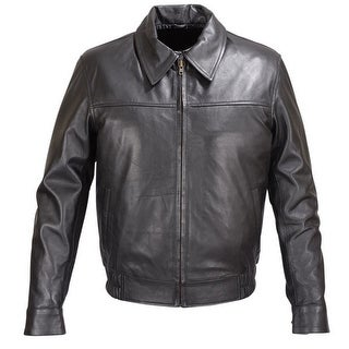 MENS BLACK LAMBSKIN LEATHER BOMBER CLASSIC FIT JACKET FJ5