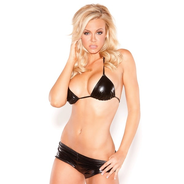 e6dd866e7c3 Shop Hoty Vinyl Triangle Bra Set - Black - One Size Fits Most - Free  Shipping On Orders Over  45 - Overstock - 18101491