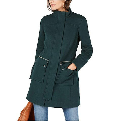INC International Concepts Collared Cocoon Coat, Hunter Forest, X-Large