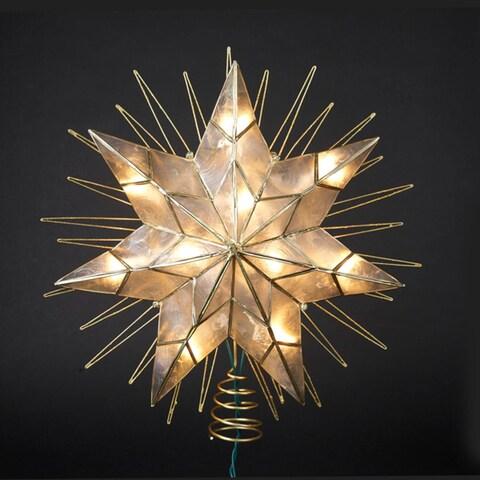 "14"" Lighted Capiz Sunburst 7-Point Star Christmas Tree Topper - Clear Lights - Gold"