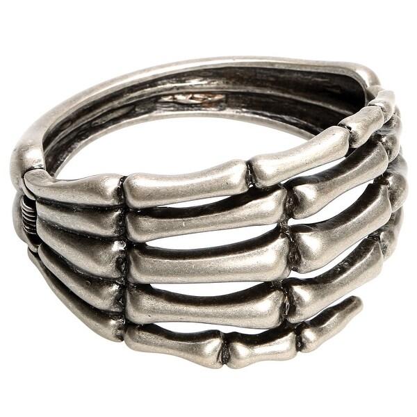 Women's Skeleton Hand Antiqued Metal Cuff Bracelet - Silver