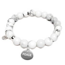 """White Howlite Peace Silver Charm Lucy 7"""" Bracelet