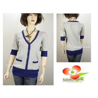 Link to Uniquism Blue Gray V-Neck Button-Down Pocket Knitted Sweater Cardigan S M L Xl Similar Items in Women's Plus-Size Clothing