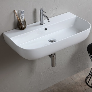 "Nameeks Scarabeo 1812  Scarabeo Glam 30"" Rectangular Ceramic Vessel or Wall Mounted Bathroom Sink with Overflow"