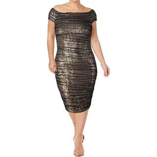 Lauren Ralph Lauren Womens Cocktail Dress Sequined Ruched