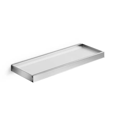 "WS Bath Collections Skuara 52836.29 23.6"" Frosted Glass Towel Shelf from the Skuara Collection - Polished Chrome"