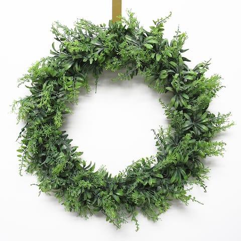 Flowering Fern Mix Leaf Wreath 22in