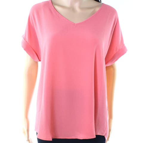 Pink Rose Rosey Pink Womens Size Large L V-Neck High-Low Blouse