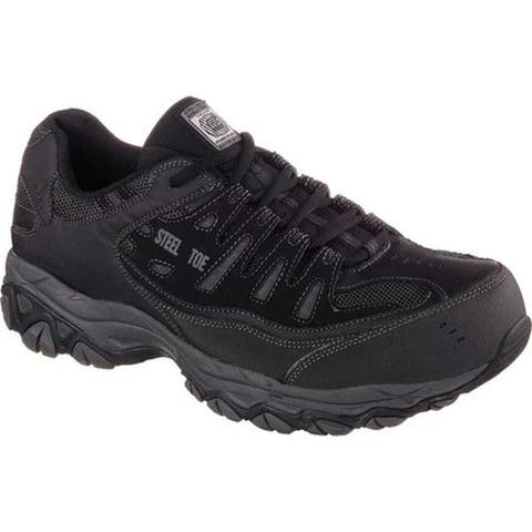 Skechers Men's Work Relaxed Fit Crankton Steel Toe Shoe Black/Charcoal