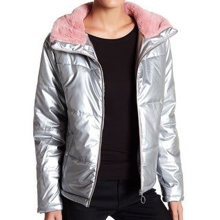 Abound Silver Womens Size Medium M Puffer Faux-Fur Quilted Jacket