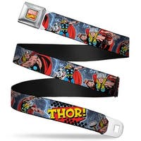 Marvel Comics Marvel Comics Logo Full Color Thor! Action Poses Pop Art Logo Seatbelt Belt