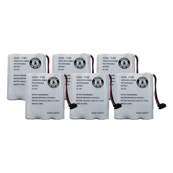 Replacement Battery For Uniden CXAI5198 Cordless Phones - BT905 (600mAh, 3.6V, NiCD) - 6 Pack