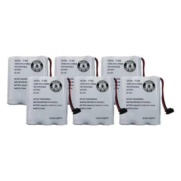Replacement For Uniden BT-1006 Cordless Phone Battery (600mAh, 3.6V, NiCD) - 6 Pack